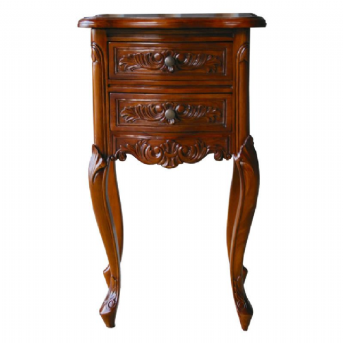 Louis French Bedside Table in Mahogany